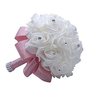 MOJUN Wedding Bouquets Crystal PE Roses Bridal Bridesmaid Wedding Hand Holding Bouquet Artificial Fake Flowers Toss Bouquet, Taro-Purple