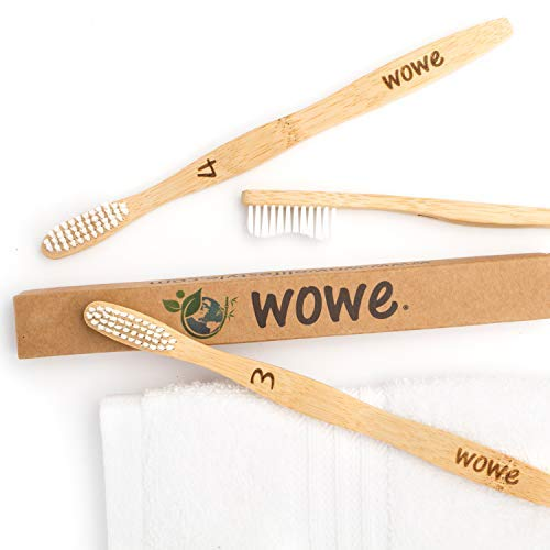 Wowe Natural Organic Bamboo Toothbrush Eco-Friendly Wood, Ergonomic, Soft BPA Free Bristles, Pack of 4 by Wowe (Image #6)
