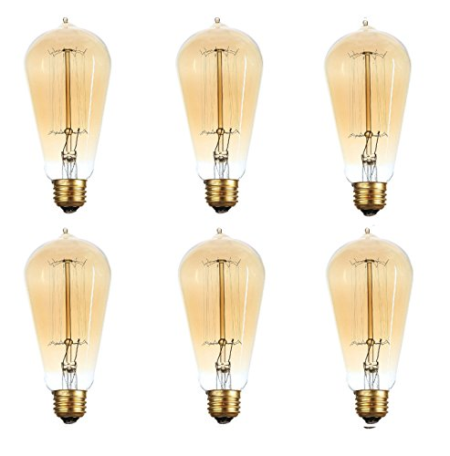 Brightech - The Original Hand Crafted Vintage Edison Light Bulbs with Exposed Filaments in a Soft Amber Glow - 6 Pack - 18 Month Warranty