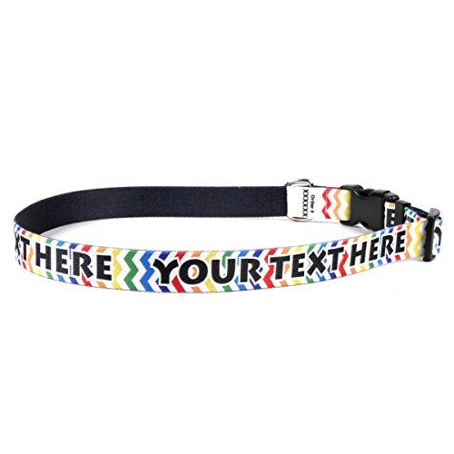 - Candy Stripe Chevron Personalized Dog Collar - Small 3/4