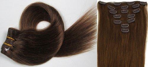 World Pride Модные прямой зажим в наращивание волос 15 дюймов 70 грамм № 6 каштановый