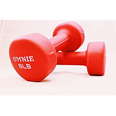Omnie Deluxe Neoprene Dumbbell Hand Weight For Exercise Fitness Yoga - Pair (8 LBS - Red)