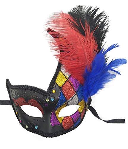 Feather Masquerade Mask Halloween Mardi Gras Cosplay Costumes Venetian Party Mask (Black with Rainbow -