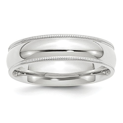 Jewelry Adviser Rings 14KW 6mm Milgrain Comfort Fit Band Size 5.5 Size 5.5