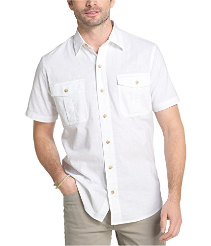 (G.H. Bass & Co. Men's Short Sleeve Solid Pigment Dyed Shirt, Bright White, Large)