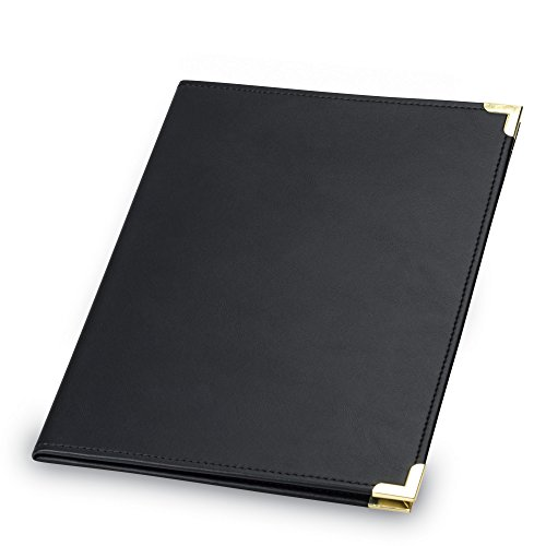 Samsill Classic Collection Business Padfolio/Executive Portfolio, Faux Leather & Brass Corners, Resume Document Organizer, 8.5 x 11 Writing Pad, Black