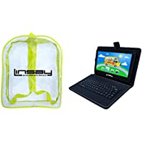LINSAY NEW F10XHDCKBAG, Quad Core, 1GB RAM DDR3 8GB Android 4.4 Kit Kat with Black Leather Keyboard & Kids Bag Pack
