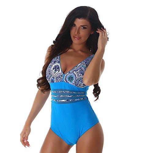 PF-Moda de baño las mujeres del traje de baño de una sola Hasta empuje Uni red portadora óptica transparente pieza con cuello en V de Paisley turquesa-azul