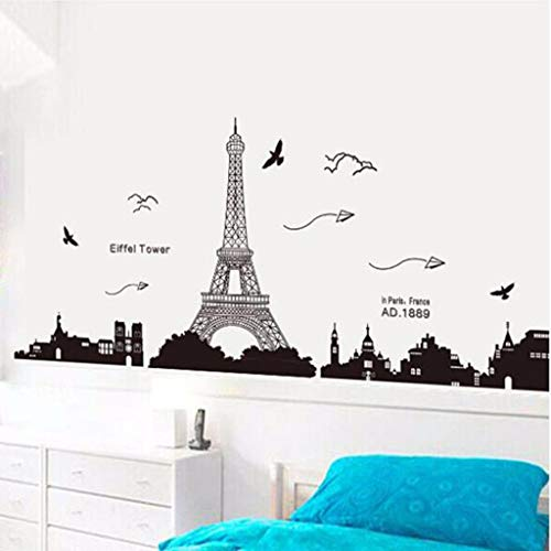 - Iusun Eiffel Tower Wall Sticker Removable DIY Self-adhesive Mural Wall Paper Decoration for Room Home Nursery Bedroom Office Supplies Decal Gift - Ship From USA (Black)