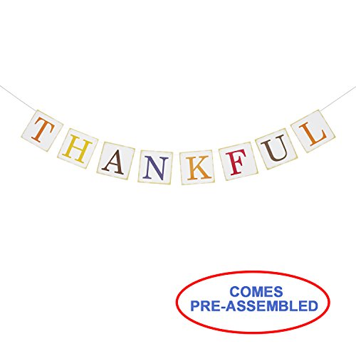 Partyprops Thanksgiving Decor - Thankful Banner Sign - Fall Home Decor Decorations - Thanksgiving Decorations - Thanksgiving Banner from Partyprops