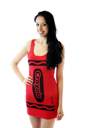 Crayola Crayon Scarlet Red Juniors Costume Tunic Tank Dress (Juniors Large)