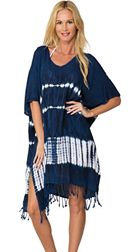 INGEAR Tie Dye Cover Up Fringe Poncho Fashion Dress Summer Loose Beachwear (One Size, Navy Tie - Tie Cover Dye Up