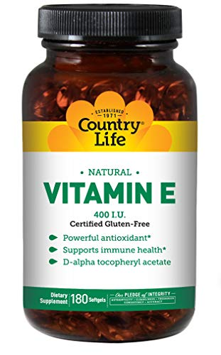 Country Life Natural Vitamin E - Supports Immune Health - 400 IU, 180 - Natural Vitamin Life Country