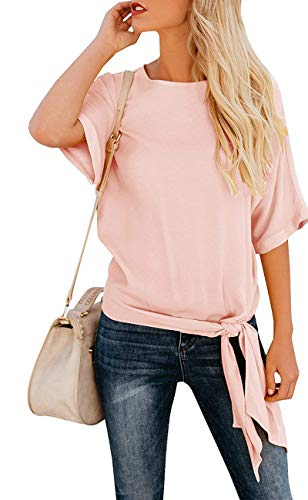Top Shirt Denim (OURS Women's Casual Short Sleeve Knot Tie Front Chiffion Top Tee T Shirt Blouses Pink)