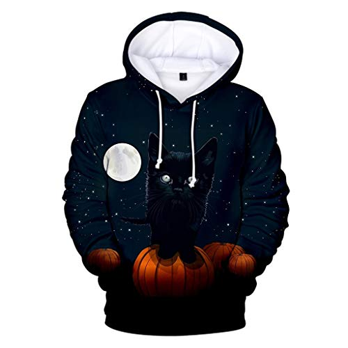 Sunmoot Clearance Sale Couples Halloween Costumes Sweatshirt Hoodies Plus Size 3D Print Keep Warm Pullover Sweaters Tops