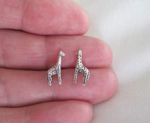 Sterling Silver 13mm Giraffe Post Stud Earrings. - Jewelry Accessories Key Chain Bracelet Necklace -