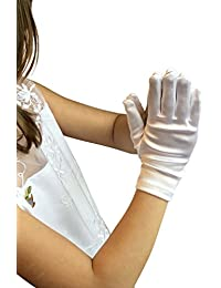 first communion gloves Satin Fancy Gloves for Special Wedding or Communion (Large (8-12 Years))