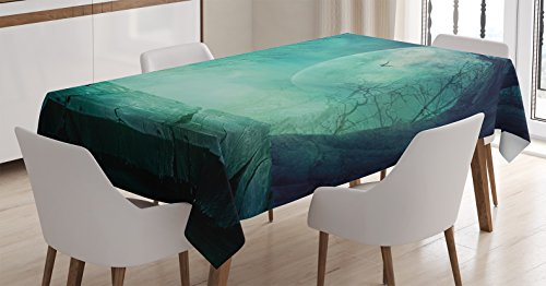 Ambesonne Halloween Decorations Tablecloth, Spooky Forest Full Moon and Vain Branches Mystical Haunted Horror Theme Rustic Decor, Dining Room Kitchen Rectangular Table Cover, 52 X 70 Inches ()