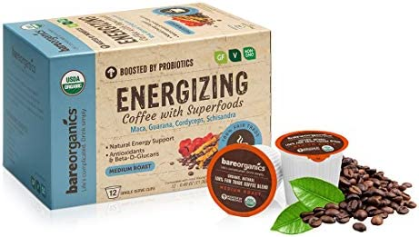 BareOrganics Energizing Coffee Pods with Superfoods Probiotics Keurig K-Cup Compatible USDA Certified Organic, Vegan, Non-GMO Recyclable 72ct