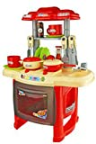 Saffire Kids Kitchen Cooking Set with Music and Lights, Red