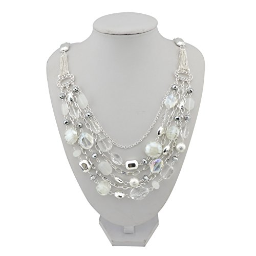 ayer Chain Crystal Colored Glaze Statement Women Necklace (NK-10061-White) (Colored Glaze Crystals)