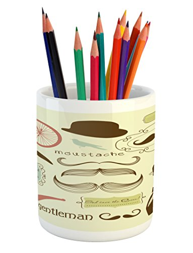 Lunarable Mustache Pencil Pen Holder, Keep Calm and Carry on Message Gentlemens Club Elements and an Antique Bicycle, Printed Ceramic Pencil Pen Holder for Desk Office Accessory, Multicolor by Lunarable