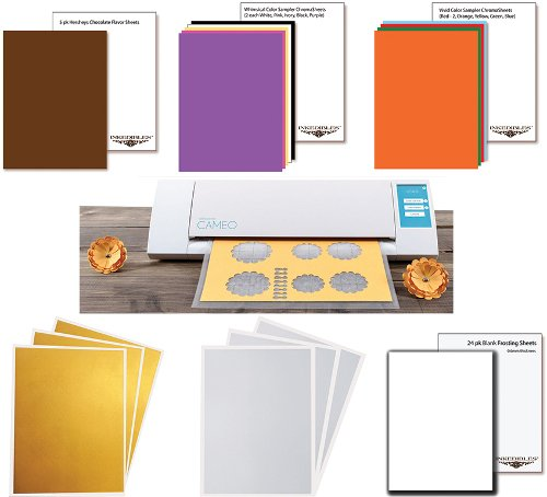 YummyInks Brand: Silhouette Cameo Cutter Bundle with 20 ChromaSheets, 5 ChocoSheets, 6 DazzleSheets and 24 White Frosting Sheets