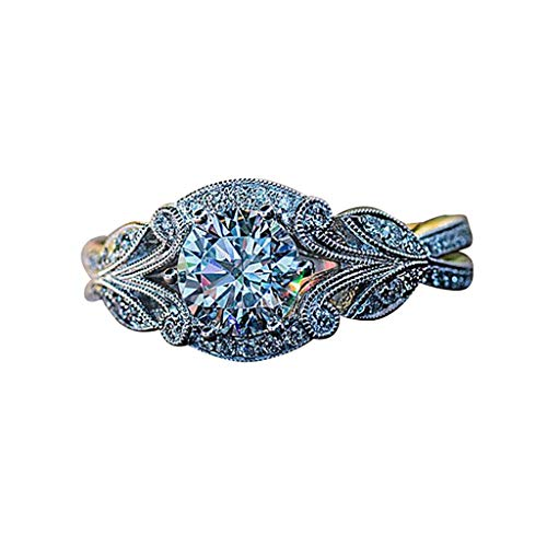 (Klions Vintage Rhinestone Ring for Women Leaves Flower Branch Ring Ladies Fashion Elegant Jewelry,No-Toxic,Skin Safe Silver )