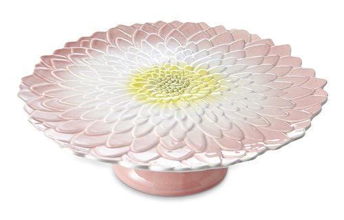 Julia Knight Dahlia 14'' Footed Cake Plate, One Size, Pink Ice Multi,
