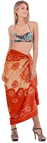 Batik Wrap Sarong Badeanzug Rock Strand swimwear Damen decken orange