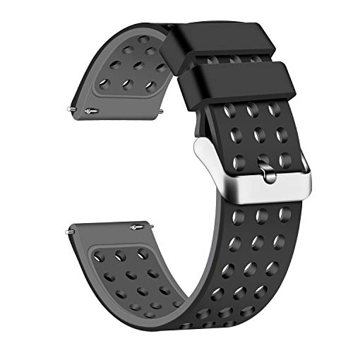 (Lwsengme Silicone Quick Release - Choose Color & Width (18mm, 20mm,22mm) - Soft Rubber Watch Bands (Black/Gray, 22mm))