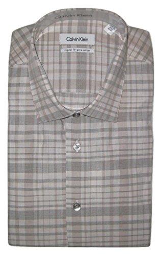 (Calvin Klein Men's Regular-Fit Tan Exploded Check Shirt, Birch, 16.5)