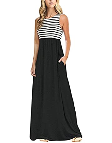 1b73e3a62000 MEROKEETY Women's Summer Striped Sleeveless Crew Neck Long Maxi Dress Dress  with Pockets
