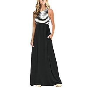 MEROKEETY Women's Summer Striped Sleeveless Crew Neck Long Maxi Dress Dress with Pockets Black