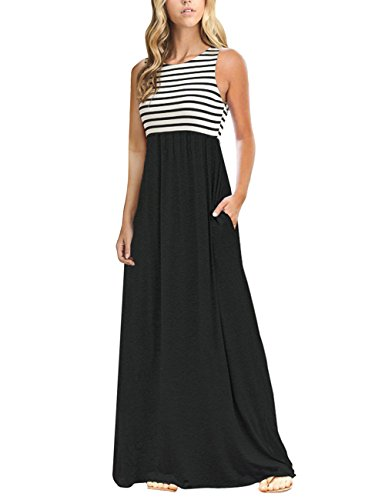 MEROKEETY Women's Summer Striped Sleeveless Crew Neck Long Maxi Dress Dress with Pockets Black -