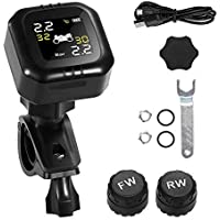 Tpms Motorcycle Tire Pressure Monitoring System with 2 Wireless Motorcycle Tpms sensors, LCD Display, Anti-theft…