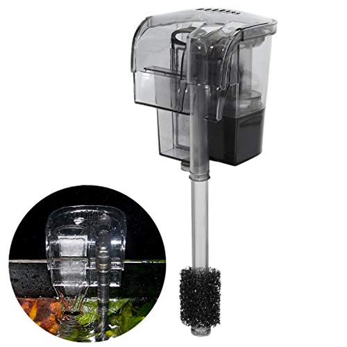 rium Hang On Filter - Power Waterfall Suspension Oxygen Pump - Submersible Hanging Activated Carbon Biochemical Wall Mounted Fish Tank Filtration Water ()