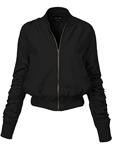 Warm Solid Color Shirring Sleeve Zipped Bomber Jackets 143-black Medium (Leisure Suits For Sale)