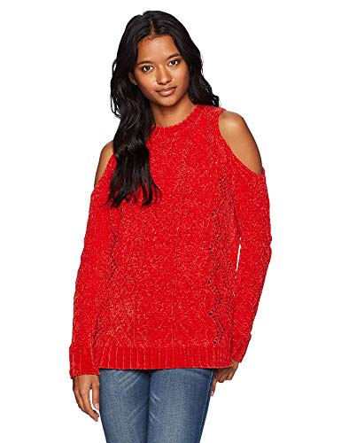 XOXO Women's Pointelle Cold Shoulder Super Soft Pullover Sweater, red, X-Large ()