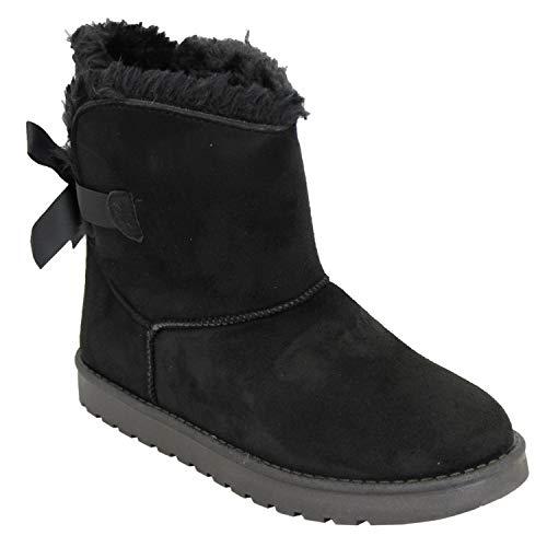Pelliccia Neve Nuova Nero Caviglia Donna Foderata Unvc 6180 Stivali Invernale Di Snuggle Fiocco Scarpe Camoscio AqBCInxw