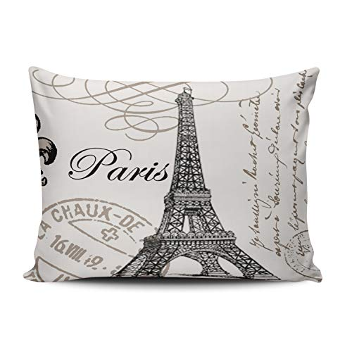Damask Postage - Fanaing Bedroom Custom Decor Vintage Paris Pillowcase Soft Zippered Ivory and Gray Throw Pillow Cover Cushion Case Fashion Design One Sided Printed Boudoir 12X20 Inches