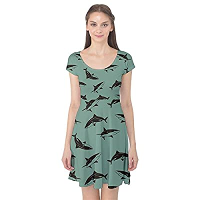 CowCow Womens Turquoise Pattern Sharks Cap Sleeve Dress