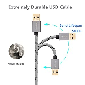USB Cable Male to Male 1.5 ft, SNANSHI USB to USB Cable Nylon Braided Cable Aluminum Shell for Data Transfer Hard Drive Enclosures, Laptop Cooling Pad, Modems, Cameras and More