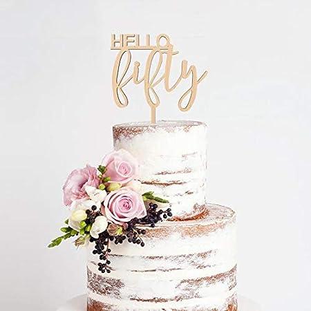 Decoración para tarta de 50 cumpleaños, diseño de Hello ...