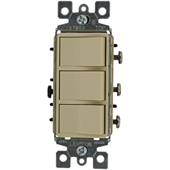 leviton 1755 i 15 amp 120 volt decora single pole ac leviton 1755 2i 15 amp 120 volt individual switches decora three rocker combination switch commercial grade ground screw ivory