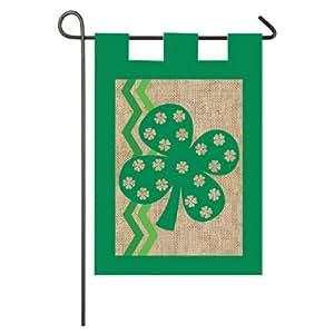 Burlap St. Patricks Day Garden Flag