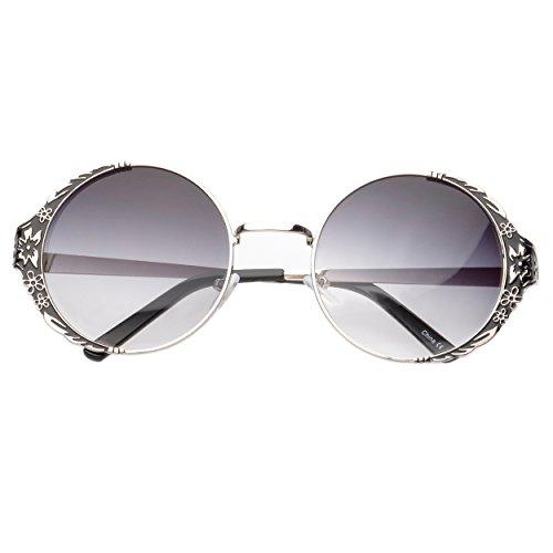 MLC EYEWEAR Vintage Inspired Flower Emblem Round Sunglasses Gradient - Gucci Sunglasses Inspired