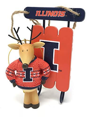 Illinois Fighting Illini Sweater Reindeer & Sled Christmas Tree Ornament - Licensed (2 Piece ()