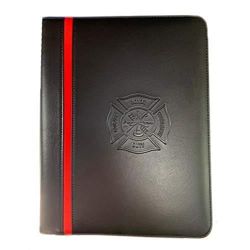 Firefighter GIF for Men - Maltese Cross Thin Red Line Firefighters Portfolio Padfolio Organizer Firefighter Prayer Print Thin Red Line American Flag Decal and Maltese Cross -