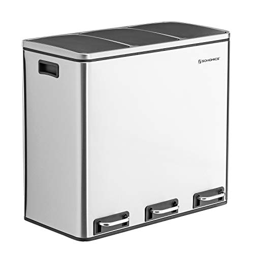 Songmics 14 Gallon 3 Compartment Recycle Pedal Bin 3 X 18l Trash Can With Plastic Inner Buckets Ultb54nl Amazon Ca Industrial Scientific